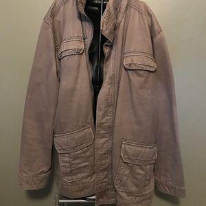 Men's utility jacket with zip collar hood